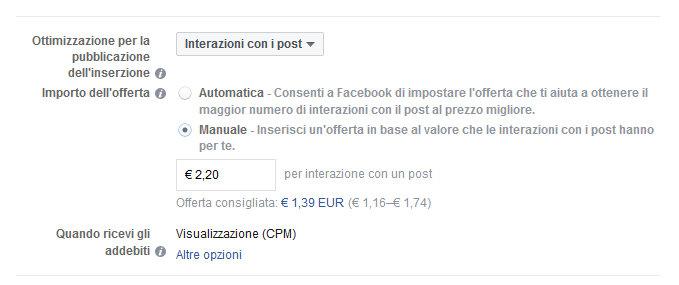 Costo pubblicità su Facebook